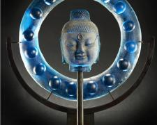 Water Halo Bobble Ring Buddha, 2012, cast glass, sand, 32 x 30 x 10""