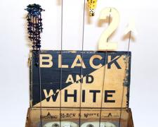 Black and White 2007 Assemblage 15 x 8 1/2 x 6 1/2""