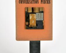 Conversation Pieces, 2013, book, printer's blocks, steel, 19 1/2 x 10 x 4""