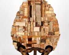 Hagia Sophia, 2010, books, cast iron barn trolley, foodchopper, printer's blocks, toy blocks, ocos geode, calcite, 36 x 19 x 10""