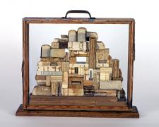 The Lost Library, 2008, assemblage, 15 1/2 x 18 x 4 3/4""