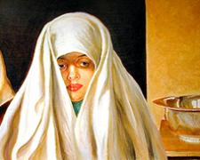 Salome, 2003, acrylic on wood panel, 19 x 39""