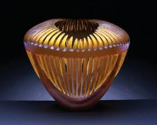 Amber Invitation, 2005, hand-blown sandblasted glass, 12 x 14 x 4""