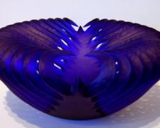 "Cobalt Cavity, 2005, handblown and sandblasted, 8 x 17 x 17"""