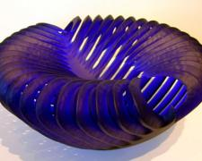 Cobalt Cavity, 2005, handblown and sandblasted, 8 x 17 x 17""