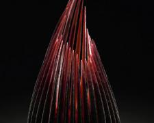 Copper Ruby Reaching, 2005, hand-blown sandblasted glass, 17 x 9 x 9""