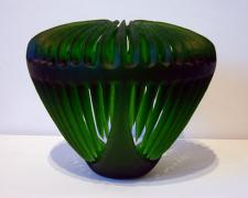 Emerald Invitation, 2005, handblown and sandblasted, 12 x 15 x 15""