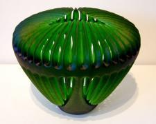 "Emerald Invitation, 2005, handblown and sandblasted, 12 x 15 x 15"""