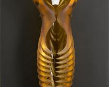"Amber Momus, 2007, handblown/sandblasted, 25 x 7 x 10"" (glass) / 54 x 20 x 2 1/2"" (wall mount)"