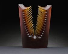 Amber Split, 2005, handblown/sandblasted, 13 x 10 x 4""