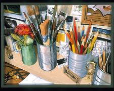 Studio Desk: Catalog 2003 Mixed media construction 25 x 19 x 3 1/2""