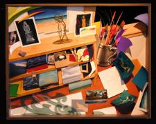 Studio Desk: Waves 2003 Mixed media construction 25 x 31 x 5 1/2""