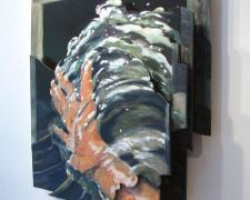 Hand in the Water, 2004-09, oil on plywood, 25 x 23 x 4""