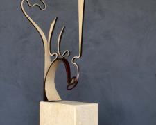 "Silhouette, 2008 painted steel, limestone 27 3/4 x 8 x 4"""