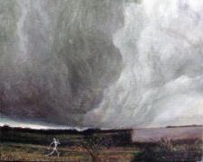 Skeleton Running Before Ominous Clouds, 2007, acrylic on panel, 7 x 6 3/4""