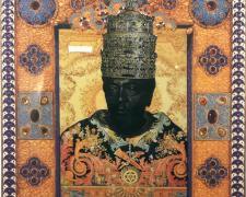 "Solomon, 2008, collage and acrylic wash, 7 3/4 x 6 1/2"""