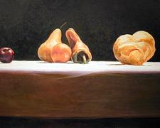 A Staged Eucharist, 2003, acrylic on wood panel, 18 x 33""