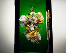 Floating Bouquet Cloistered Botanical, 2003, lampworked glass, 5 5/8 x 2 3/4 x 2 3/4""