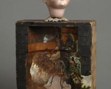 Invisible Beings 2007 Assemblage - doll head, factory mold, book illustrations, brass ornament 17 1/2 x 10 x 4""