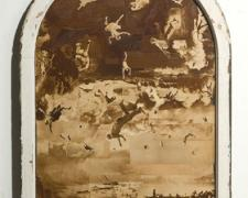 Going to Heaven, 2009, window frame and rotogravure newspaper images, 41 1/2 x 30 1/2 x 2""