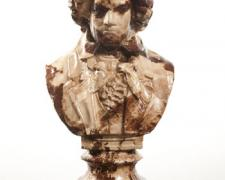 Judgment of Paris, 2010, plaster bust, rotogravure newspaper images, 21 x 12 x 8 1/4""