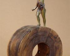 The Pilgrimage 2006 Assemblage - wood factory mold, cast metal figure, metal part 17 3/4 x 9 x 4 3/8""
