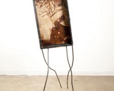 Stranger, 2010, wood display case, book and rotogravure newspaper images, steel, 65 3/4 x 22 x 31 3/4""
