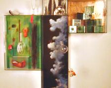 Night Clouds, 2001, glass, mixed media, 41 x 38 x 8""