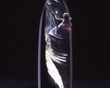 """Fire Extinguisher, 2003, hand-blown glass, reverse painting, metal, 24 x 7"""""""