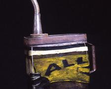 Gas Can, 2003, hand-blown glass, reverse painting, metal, 19 x 11 x 6""