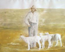 "Study: Untitled, c. 1974-75, acrylic wash, f.s. 25 1/2 x 30"" / i.s. 16 1/2 x 21 1/2"", (Secondary Market)"