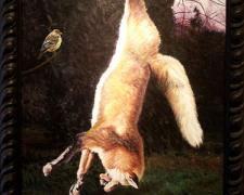 Suspended Fox, 2004, acrylic on panel, 33 x 24""