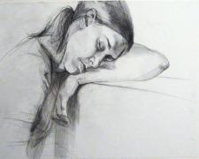 "Dormida, 2006, graphite on paper, 14 x 17"""