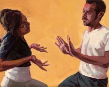 "Gestures #1, 2009, oil on panel, 12 x 16"""