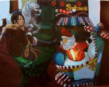 One Horse Open Sleigh, 2009, oil on panel, 12 x 16""
