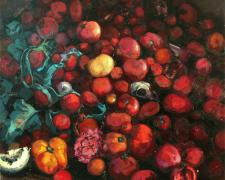 Unbearable Fruit, 2008, oil on linen, 48 x 48""