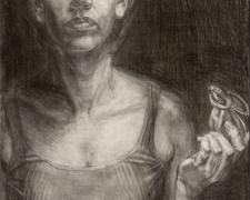 Autoretrato y Conejito, 2005, graphite on masonite, 23 x 14""