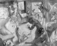 Oxford Revolt, 2005, graphite on paper, 35 x 48""