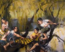 Camaraderie and Conflict: Chicken, 2007, oil on canvas, 30 x 36""