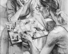 """Contemplating the Inevitable, 2007, graphite on paper, 24 x 18"""""""
