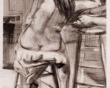 """Curved Back, 2004, graphite on paper, 22 x 13"""""""