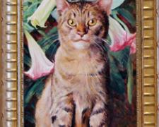 Tabby Beneath Blooms of Angel's Trumpets, 2004, acrylic on panel, 24 x 10""