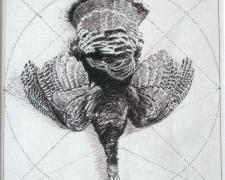 """Tondo Schema for Hanging Turkey, 2008, pen and ink on paper, 6 1/8 x 6 1/8"""""""