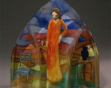"""Clarissa Prepares, 2006, cast glass with off-hand inclusion, 14 x 14 x 4 1/2"""""""