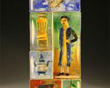 Remembering Mrs. Delany, 2010, sandcast glass assembled with inclusions, 20 x 8 x 5 1/4""