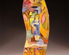 Klimt Haiku, 2010, cast glass assembled with inclusions and gold leaf, 24 x 8 x 4 1/4""