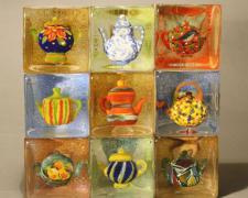 "Teapots La Provence, 2009, blown, 13 1/2 x 13 1/2 x 3 1/2"""