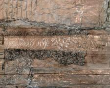 "Urban Surface, 2014 mixed media, 16 x 6 x 1 1/4"""