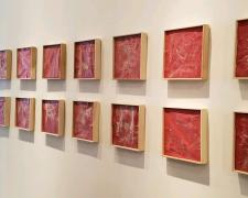 "Untitled (Veinte poemas de amor), 2018, sandpaper sheets, wood frames, 95 x 19""/ 9 1/2 x 9 1/2"" each frame"