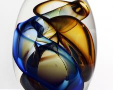 Blue Transparent Vortex Pod, 2012, free blown glass, ground, polished, sandblasted, brush polished, 11 x 7 1/2 x 4""
